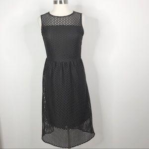 H&M Square Laser Cut Midi Sheath Dress Black 12